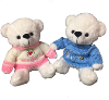 "10"" Boy/girl white bears in sweaters (SKU: EK-820/10WPB)"