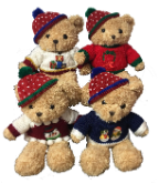 "14"" Christmas bear in asst. sweaters"