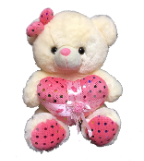 "12"" Valentine creamy bear/lights/song"