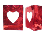 "13"" Red gift bag/heart window"