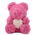 "14"" Pink Rose bear w/white heart"