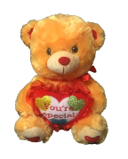 "15"" Valentine brown bear/lights/song"
