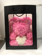 "14"" Pink Rose bear w/wh heart"