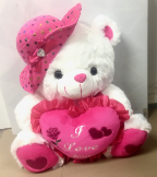 "18"" Valentine bear w/pink hat/song"