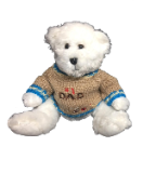 "10"" white bear in #1 Dad sweater"