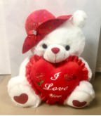 "18"" Valentine bear/red hats/song"