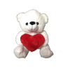 "10"" Valentine white bear"