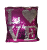 "15""X14"" Love sequin pillow"