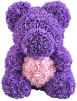 "14"" Purple rose bear w/box (SKU: EK-2015PLP)"