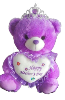 "12"" Mothers day purple bear/tiara"