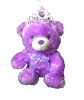 "12"" Purple bear w/tiara"